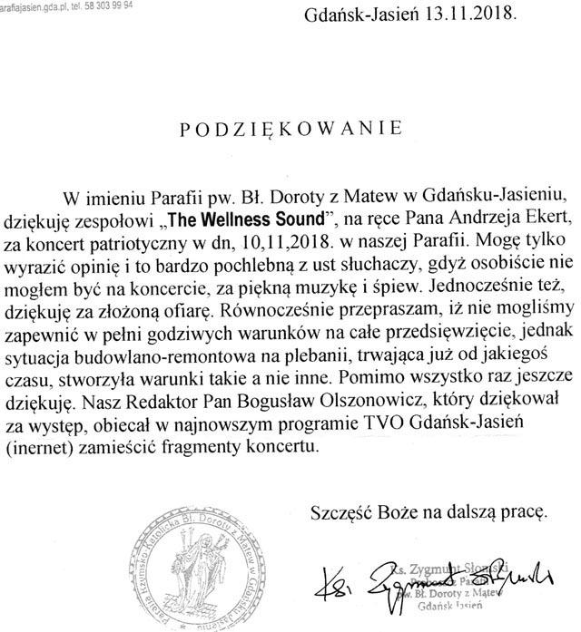 Podziękowania i opinia 2018 Gdańsk