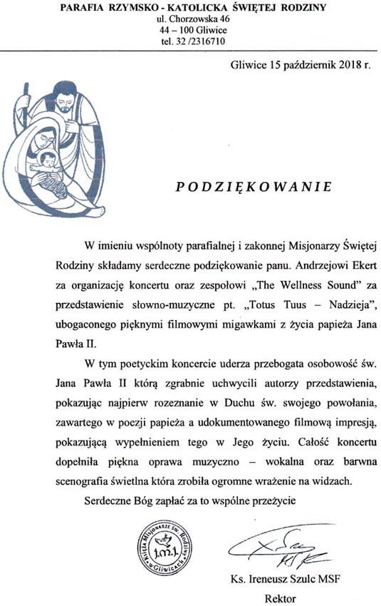 Podziękowania i opinia 2018 Gliwice